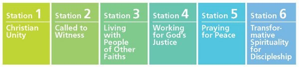 "Each unit or ""station stop"" in the resource focuses on a specific site (for example, Orthodox churches in Eastern Europe, Dalit Christians in India) and a key ecumenical theme (unity, mission, peace, justice, prayer, discipleship)."